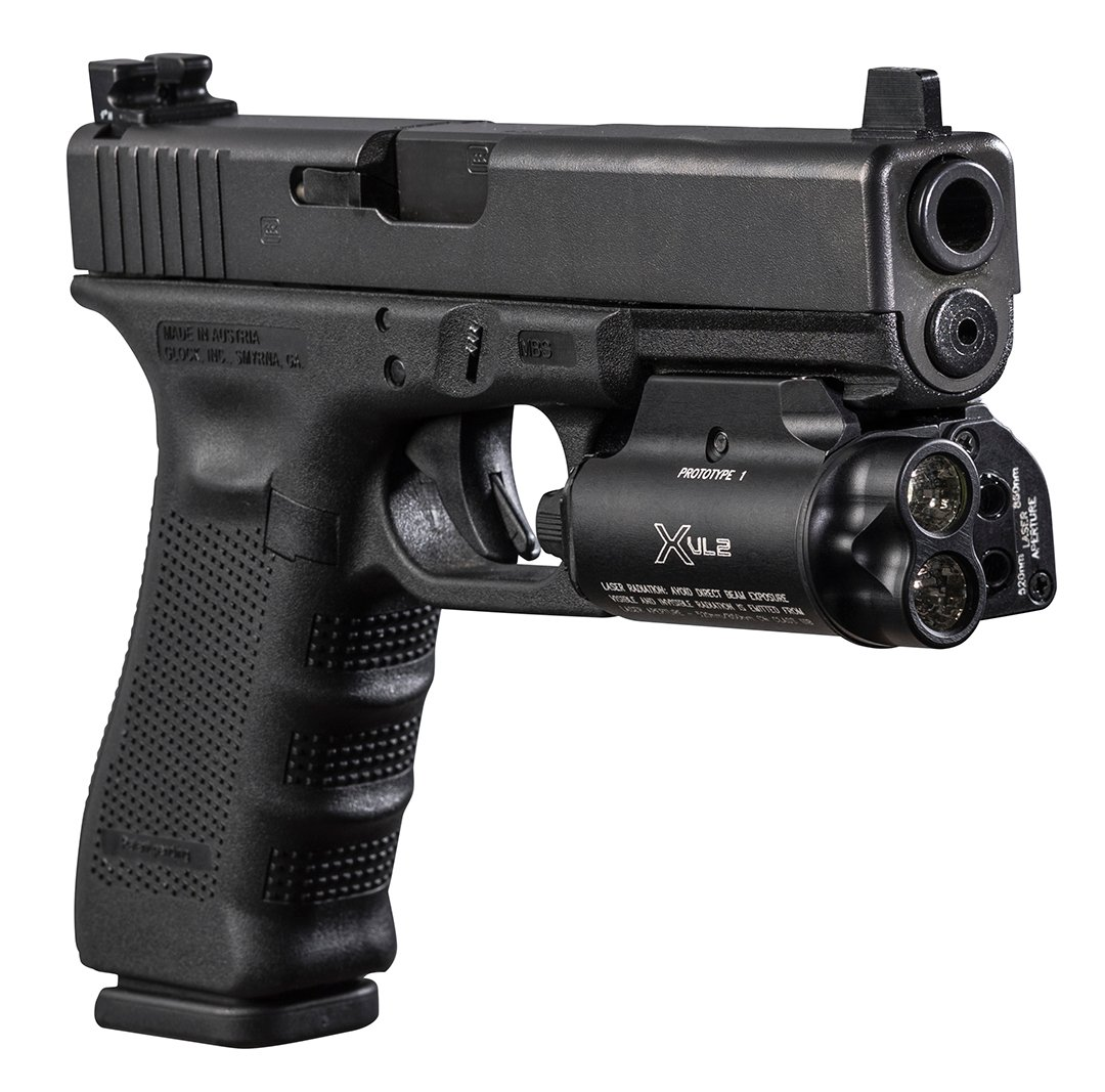 SureFireXVL2 on Glock 9 mm pistol
