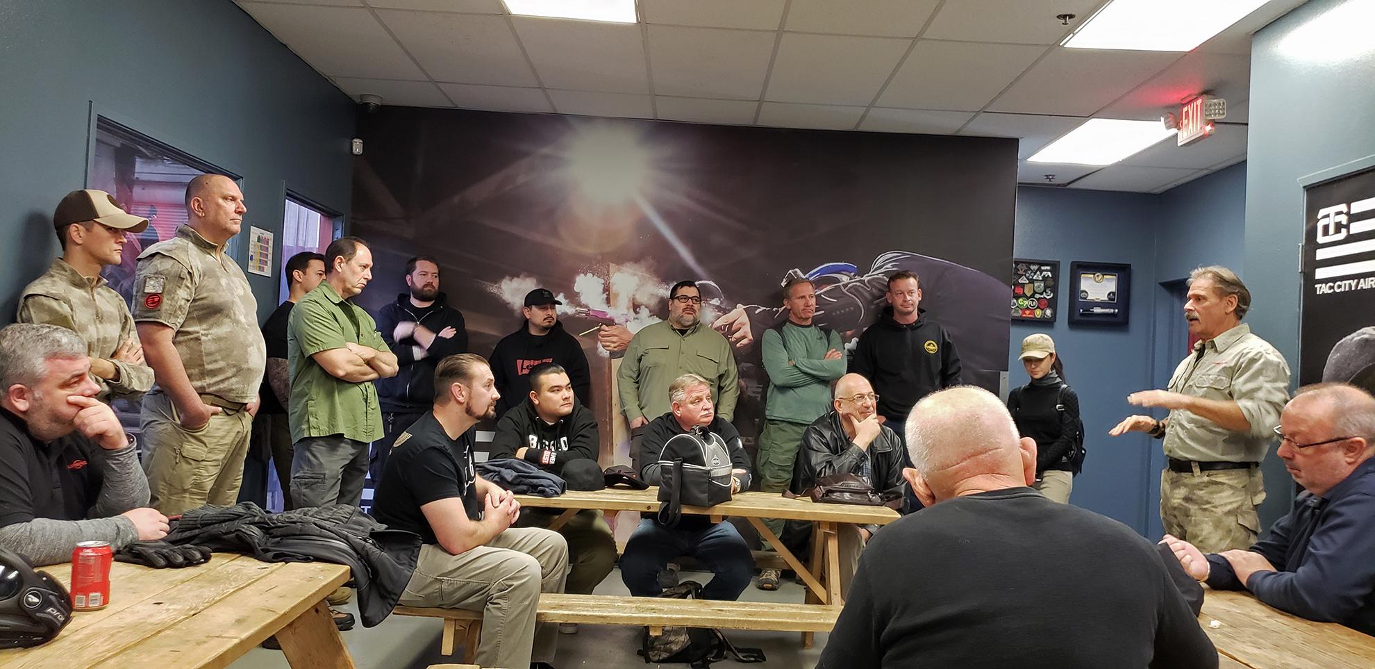Warfighter Academy Master Instructor Dave Maynard addresses students