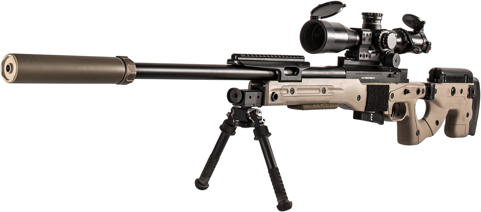 SureFire SOCOM260-Ti Dark Earth on bolt-action rifle