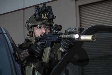 Orange County Deputy with carbine and SureFire M600DF