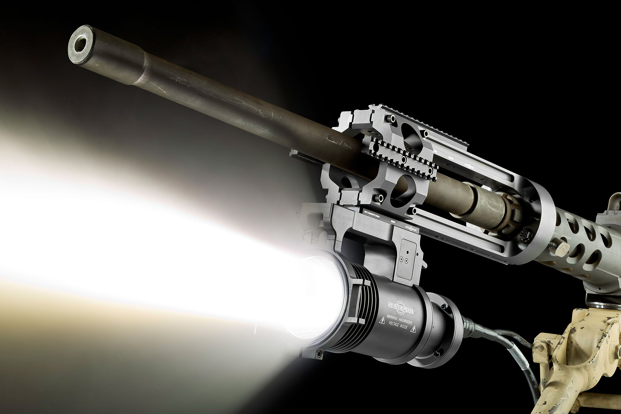 SureFire Hellfighter 4 heavy gun WeaponLight on .50 caliber machine gun