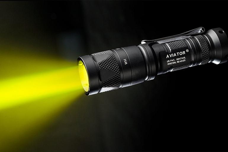 SureFire Aviator flashlight with yellow-green