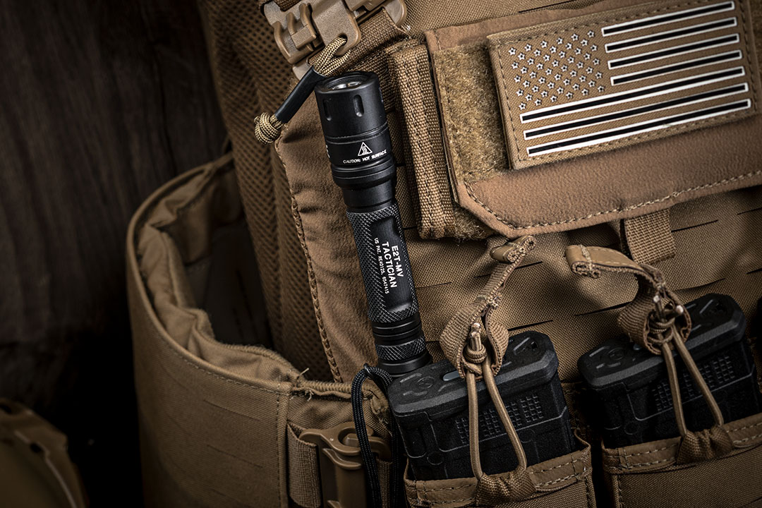 SureFire E2t-MV Tactician clipped to backpack
